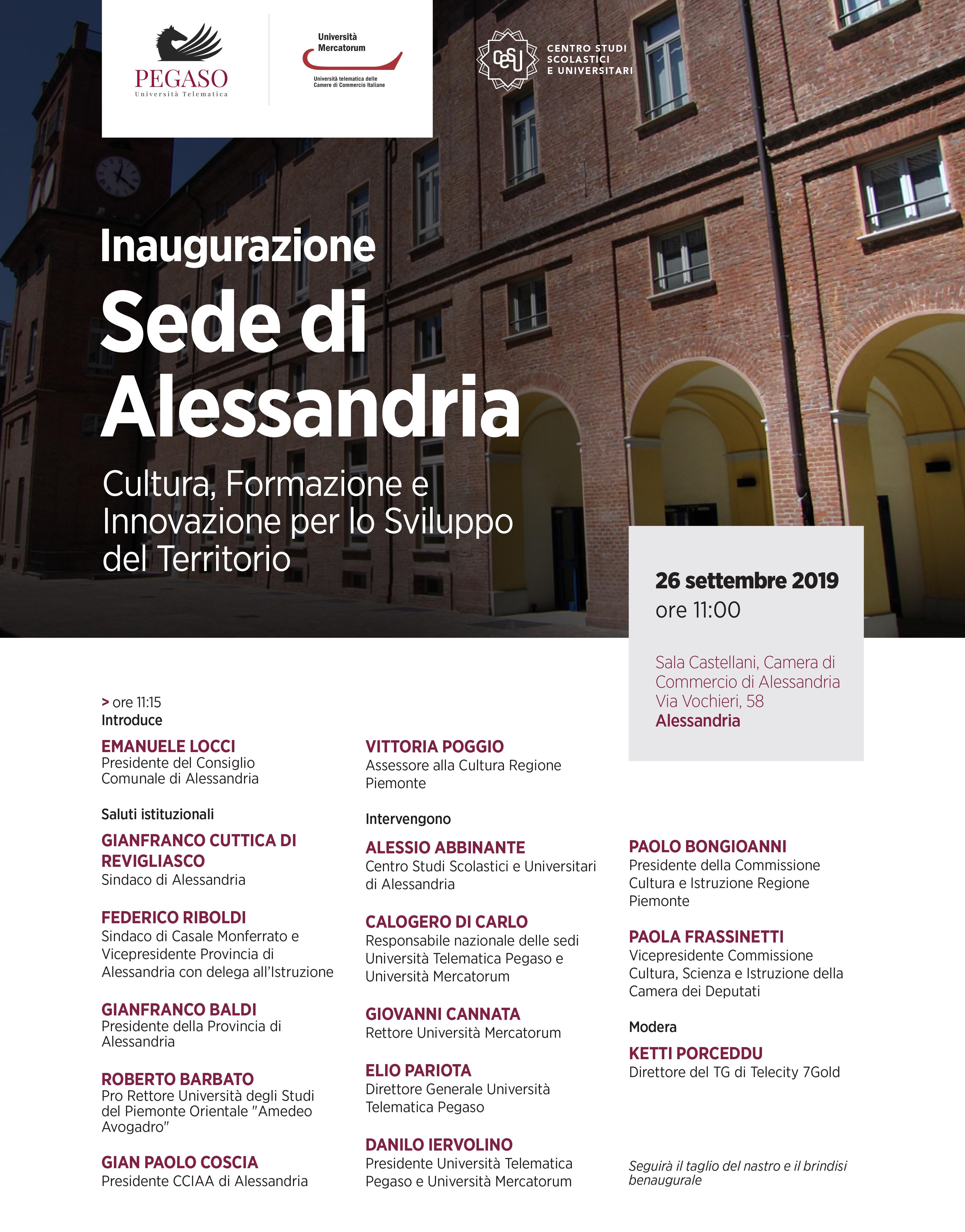 Inaugurazione Sede Di Alessandria Universitas Mercatorum